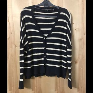 Navy and White Striped Vince Cardigan Size Small